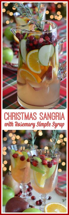 Making Spirits Bright: Christmas Sangria with Rosemary Simple Syrup! As easy to mix as it is to drink!   Home is Where the Boat Is #cocktail