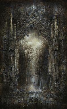 Gothic-Baroque-Victorian on Behance Gothic Drawings, Gothic Artwork, Gothic Wallpaper, Dark Artwork, Victorian Paintings, Victorian Art, Gothic Fantasy Art, Dark Gothic Art, Look Dark