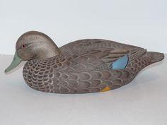 Vintage Signed Numbered Black Duck Decoy George W. Csefai (1937-73) Glass Eyes