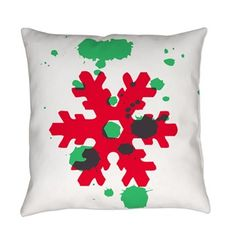Victory Ink Tshirts and Gifts: Abstract red and green Snowflake Everyday Pillow: Unique pain splatter snowflake Diy Gifts, Best Gifts, Snowflake Pillow, Best Christmas Gifts, Designer Throw Pillows, Pillow Shams, Reindeer, Snowflakes, Owl