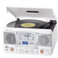 Elegante cadena estéreo con tocadiscos, reproductor de CD y puertos USB y SDpara reproducción de MP3.Direct-MP3-Encoding para la conversión y grabación de vinilos en USB
