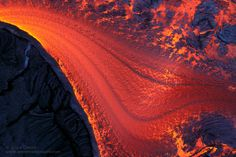 Very hot, fluid pahoehoe gushes from a ruptured lava tube, a molten mass that covers an old flow, adding yet another layer to this dynamic island. The Rite Of Spring, Top Photographers, Photos Of The Week, Volcano, Landscape Photography, Travel Photography, Background Images, Lava, Flow