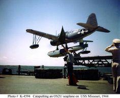 Us Seaplanes of WW2 | Catapulting an OS2U seaplane on USS Missouri