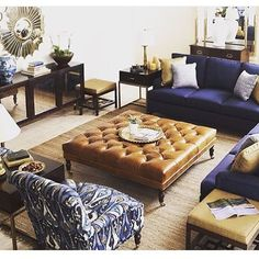 Navy sectional, leather ottoman