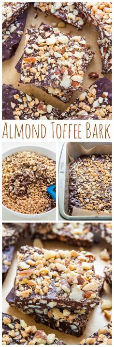 Almond Toffee Bark Roasted Almond Toffee Bark made with 3 simple ingredients!Roasted Almond Toffee Bark made with 3 simple ingredients! Candy Recipes, Sweet Recipes, Holiday Recipes, Dessert Recipes, Christmas Recipes, Toffee Bark, Almond Toffee, Toffee Candy, Christmas Desserts
