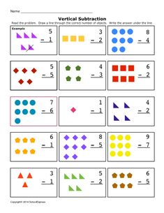 easy subtraction i like this site crafts teaching math school subtraction worksheets. Black Bedroom Furniture Sets. Home Design Ideas