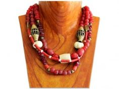 Scarlet red trade bead necklace