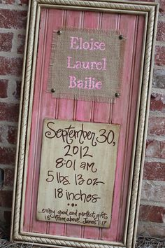 CUSTOM Hand Made Birth Announcement/Hospital door hanger/Nursery wall art on Etsy, Sold