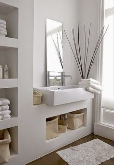 Small bathroom mirrors – If your bathroom is small and you want it to look bigger Midcentury modern bathroom Ikea bathroom Powder room Bathroom inspiration Specchio bagno Mirror ideas Bathroom Interior, Bathroom Decor, Trendy Bathroom, Attic Bathroom, Interior, Bathroom Storage Shelves, Bathroom Interior Design, Home Decor, House Interior