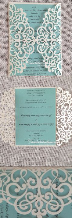 tiffany blue laser cut wedding invitations, laser cut wedding invitations, wedding invitations, wedding cards, www. Quinceanera Invitations, Laser Cut Wedding Invitations, Wedding Stationary, Wedding Invitation Cards, Wedding Cards, Diy Wedding, Dream Wedding, Trendy Wedding, Wedding Ideas