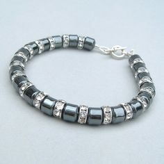 Dark Grey Haematite and Silver Crystal Bracelet £23.00