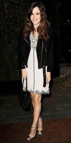 Rachel Bilson in Chanel dress styled with an Alexa Chung for Madewell motorcycle jacket, chainstrap bag and silver Brian Atwood heels.