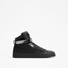 ZARA - MAN - BLACK HIGH-TOP SNEAKERS WITH METALLIC FASTENING