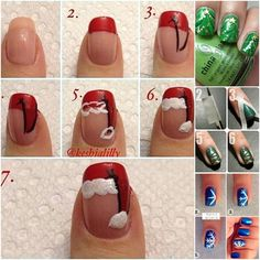 Santa Nails uploaded by DontCareAnymore on We Heart It Diy Christmas Nail Art, Xmas Nail Art, Christmas Nail Art Designs, Xmas Nails, Winter Nail Art, Cute Nail Art, Nail Art Diy, Holiday Nails, Christmas Tree
