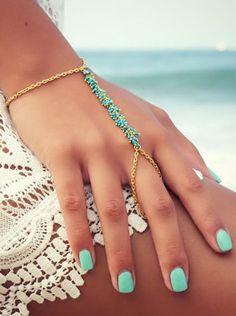 Turquoise Boho Hand Chain <3