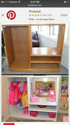 Sophia Grace & Co. - Dress up station for kids playroom. Cute way to store dress up clothes. Easy dress up storage Project to DIY. Dress Up Stations, Dress Up Storage, Dress Up Outfits, Girls Dress Up, Toddler Dress Up, Little Girl Dress Up, Toy Rooms, Little Girl Rooms, Repurposed Furniture