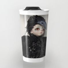 the little crow girl Travel Mug Girl Travel, Travel Mug, Tech Accessories, Crow, Mugs, Wall Art, Tableware, Design, Home Decor