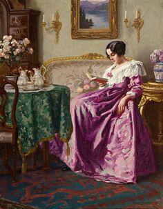 Lesende in einem feinen Salon (1918). Karl Maria Schuster (Austrian, 1871-1953). Oil on canvas.