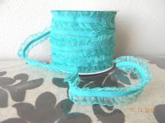 TEAL double Ruffled elastic pleated lace by LaBellaRoseBoutique
