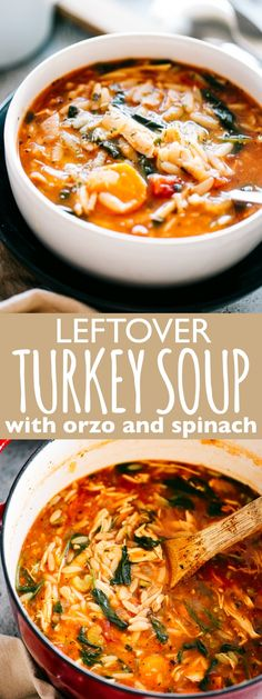 Leftover Turkey Soup Leftover Turkey Soup Recipe with Orzo and Spinach - Delicious and hearty soup loaded with tomatoes spinach orzo pasta and turkey meat. Make a pot of this homemade healthy and real easy Turkey Soup with your Thanksgiving leftovers. Easy Turkey Soup, Leftover Turkey Soup, Healthy Leftover Turkey Recipes, Turkey Vegetable Soup, Turkey Stew, Healthy Thanksgiving Recipes, Turkey Meat Recipes, Leftover Turkey Breast Recipe, Turkey Chili
