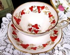 FOLEY TEA CUP AND SAUCER PAINTED IVY LEAVES PATTERN WIDE MOUTH TEACUP