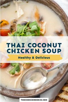 This Thai Chicken Soup with coconut milk is so creamy and so flavorful. Made with coconut milk, cilantro, mushrooms, chicken, tomato, and chiles, it's the perfect soup for any time of year! #soup #chickensoup #thairecipe