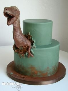 T-rex birthday cake by The Butter End Cakery Dinosaur Cakes For Boys, Dinosaur Birthday Cakes, Dino Cake, Shark Cake, Cute Cakes, Pretty Cakes, Planet Cake, Cake Templates, Novelty Cakes