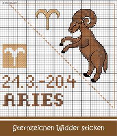 Sternzeichen Widder sticken #Sticken #Kreuzstich / #Sternzeichen #Widder; #Embroidery #Crossstitch / #starsign #aries / #ZWEIGART Astrology Signs, Zodiac Signs, C2c, Cross Stitching, Beading Patterns, Pixel Art, Cross Stitch Patterns, Pattern Design, Journaling