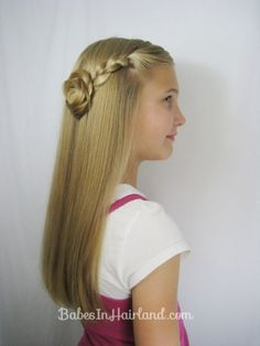 Make this Easy Braided Pullback from BabesInHairland.com in just 3 minutes! #hairstyle #video #braid #tweenhairstyle