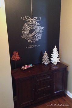 chalkboard wall & christmas wreath
