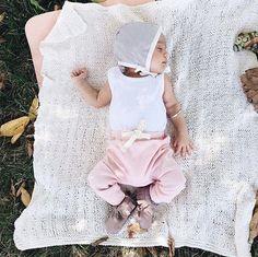Sweet baby girl, sleeping under the shade of a tree.  #babyfashion
