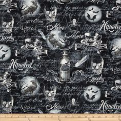 Timeless Treasures Wicked Words/Webs Black from @fabricdotcom  Designed by Timeless Treasures, this cotton print fabric is perfect for quilting, apparel and home decor accents. Colors include shades of grey, black, and white on a black background.
