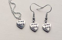 dog necklace and earrings set by shiningstarjewellery on Etsy
