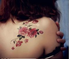 Pink Flower Shoulder Tattoo - Temporary Tattoo by TattooCrush.com $6.95
