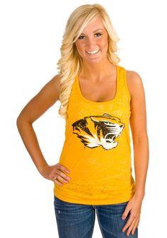 Missouri Tigers Womens Gold Burnout Tank Top    http://www.rallyhouse.com/shop/missouri-tigers-missouri-tigers-womens-gold-burnout-tank-top-578000    $24.95