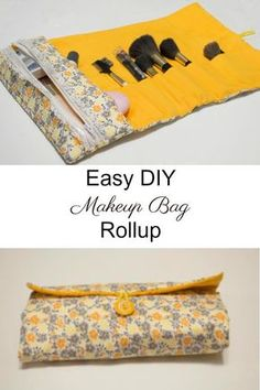 Easy to sew DIY makeup bag and brush rollup. #makeupbrushes #makeupbag #tutorial #sewing #rollup
