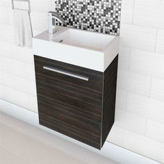 This wall hung space saving vanity is perfect for smaller bathrooms. Plus, with three colours - brown, linen & white, it can fit with any decor.