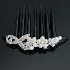 AandC Vintage Princess Hair Combs, Fashion Rhinestone and Pears Flowers Hair Clips and Headwear for Women.?White? -- Find out more about the great product at the image link.
