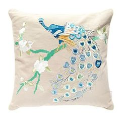This could go well with curtains in sitting room.  Beige embroidered peacock cushion - Cushions - Bedding - Home & furniture -