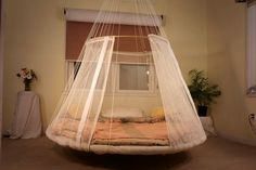 If you are having some free time and want to spend it lazing around, then a hammock bed would be an ideal choice. Usually a hammock bed can be seen outside the house, but the team OODA has redesigned Recycled Trampoline, Trampoline Bed, Awesome Bedrooms, Beautiful Bedrooms, Hammock Bed, Bedroom Hammock, Swing Beds, Indoor Hammock, Hammocks