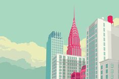 Nyc, Manhattan New York, Park Avenue, City Art, Gotham City, Flat Design, San Francisco Skyline, Skyscraper, Opera