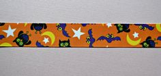 Halloween owls & bats printed on orange 7/8  by IsamayDesigns, $1.55