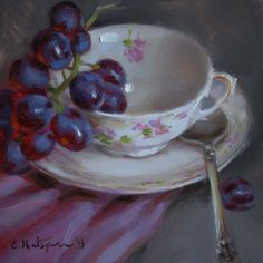 """Cup of Grapes"" - Original Fine Art for Sale - © Elena Katsyura Grape Painting, Fruit Painting, Painting Still Life, Still Life Art, Tea Cup Art, Tea Cups, Sweetest Devotion, Fine Art Gallery, Art World"