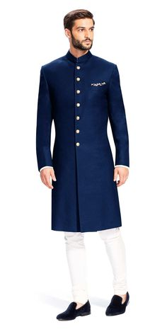 Indian Designer Bridal Wear Tuxedo Blazer Sherwani Seven Button Scotch Collar is part of Engagement dress for men Indian Designer Bridal Wear Tuxedo Blazer Sherwani Seven Button Scotch Collar Fabric - Blue Sherwani, Sherwani Groom, Wedding Sherwani, Punjabi Wedding, Wedding Dresses Men Indian, Wedding Dress Men, Wedding Blue, Casual Wedding, Wedding Outfits