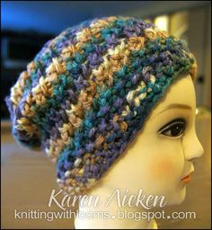 Knitting With Looms  A loom knit slouch hat, using a chunky yarn and the purple Knifty Knitter Loom