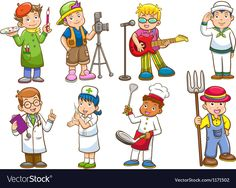 Illustration about Occupation set. Vector illustration with simple gradients. All in separate layers for easy editing. Illustration of chef, human, occupation - 28988472 Animal Worksheets, Vocabulary List, Preschool Projects, Kids Vector, Image Fun, List Of Jobs, Magazines For Kids, Job Title, Art Classroom