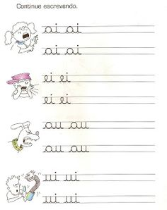 ALFABETIZAÇÃO VOGAIS - Pesquisa Google Teaching Cursive, Cursive Writing Worksheets, Worksheets For Kids, Fairy Tales For Kids, Learn Calligraphy, Preschool Classroom, I School, Writing Activities, Kids And Parenting
