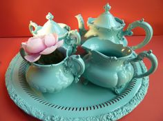 Antique Tea service in Minty Turquoise- fired on color!