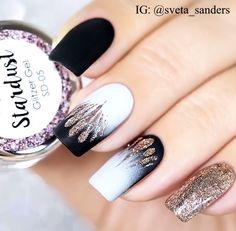 Black & White Glitter Nails