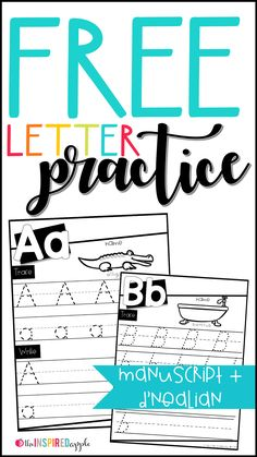 These are FREE sets of D'Nealian and Manuscript letter practice worksheets that can be used in preschool, kindergarten, first grade, and second grade classrooms for students who are learning the alphabet. Each page includes a corresponding picture and lined spaces for practicing letter formation. They're perfect for back to school, handwriting practice, morning work, letter formation practice, intervention, RTI, and more! Download your FREE set today!